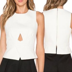 BCBGMaxAzria Elley Crossover Peplum Top Off White